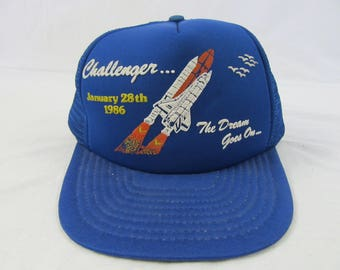 "Vintage 80s Challenger Blue Rocket Launch Jan 28th 1986 ""The Dream Goes on"" Space"