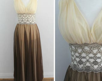 Hollywood Starlet Nightgown - 50s brown and cream semi-sheer nightgown, small