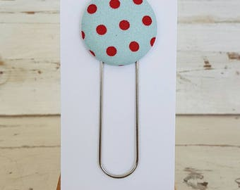 Bookmark -  Blue & Red polka Design - Paperclip Bookmark - Book accessories - Planner Accessories - Giant Paperclip Bookmark