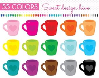 Coffee Mug Clipart, Tea Cup, Mug Clipart, Latte, Coffee Cup Clipart, Coffee Clipart, Dishes Clipart, Planner Clipart, Commercial Use, PL0178