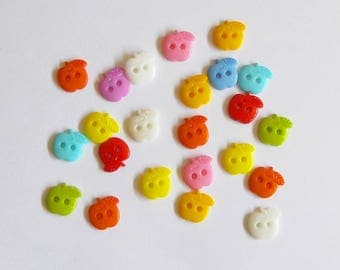 Apple buttons, Plastic 2 hole buttons, Set of 10 sewing supplies, Colorful fruit buttons