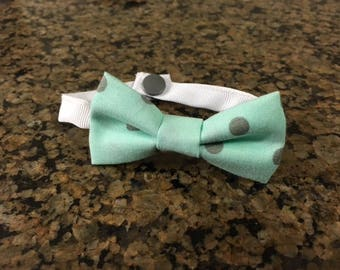 Mint Polka Dot Dog Bow