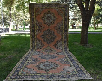 Unique Color Runner Rug Vintage Turkish Runner Rug Free Shipping Turkish Runner Rug 4.6 x 12.2 feet Oushak Rug Area Rug Oushak Runner DC574