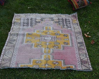Very Rare Color Vintage Oushak Rug 4.2 x 5.7 feet Free Shipping Pastel Color Rug Pink Rug Bohemian Rug Turkish Rug Wool Rug Area Rug DC886