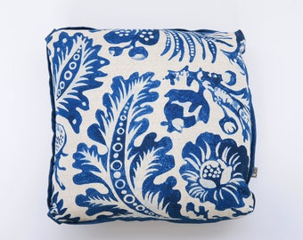 "Navy and natural linen ""Delft"" with flat welt - 18"" Square Pillow, 17"" Square also available"