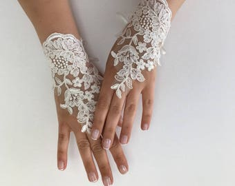 EXPRESS SHIPPING Wedding gloves beaded pearls  Ivory  bridal gloves lace gloves fingerless gloves french lace gloves