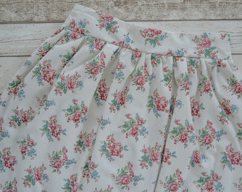 "Rose print gathered skirt handmade using vintage floral fabric size UK 12/ 29"" waist, vintage rose summer skirt, above the knee floral skirt"