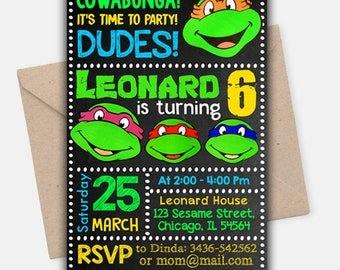 Ninja turtle invitation Etsy