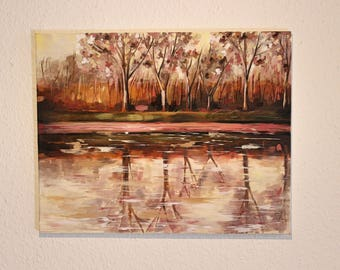 Oil Painting on Canvas - Expressive Landscape Reflection Painting, Pink Trees Contemporary Painting