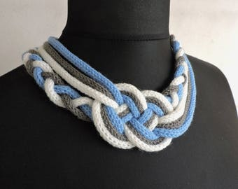 Necklace blue white gray sailor knot knitting