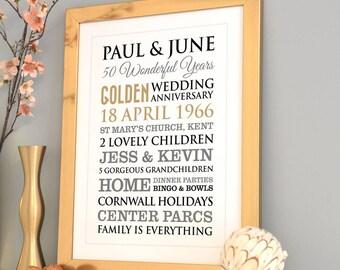Personalised Golden Wedding Anniversary Art