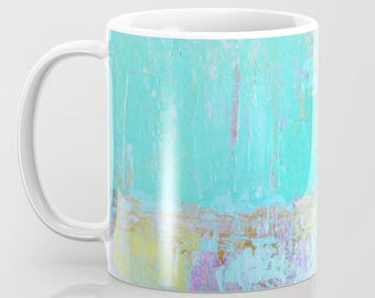 Coffee Mugs, Turquoise Mugs printed original abstract art, Ceramic Mugs