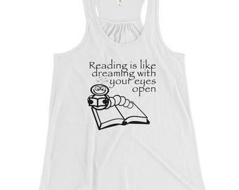 Reading is Like Dreaming Women's Flowy Racerback Tank