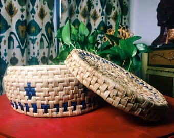 Woven Basket with Lid, Boho Basket Container