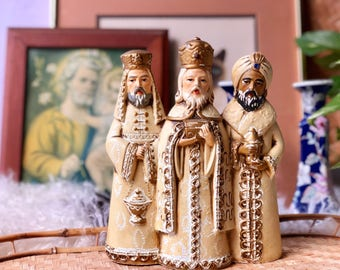 Vintage Wise Men Statue, Christmas Decor, Made in Japan
