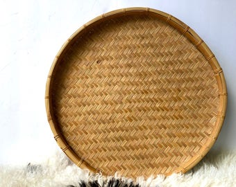 Huge Wall Basket, Vintage Winnowing Tray