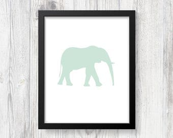 Elephant Art Print - Digital Print - Nursery Art - Animal Art - Printable Art - Downloadable - Wall Print - Minimalist Art - Modern Art