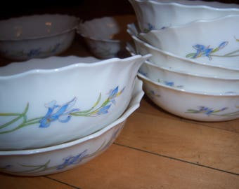 Vintage Arcopal Made In France Blue Iris Bowls Set of Nine