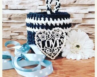 Dark Blue Storage Basket Crochet