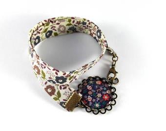 Bracelet double fleuri, printemps liberty