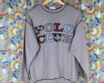 rare ! vintage polo club big logo jumper sweatshirt crew neck sweatshirt