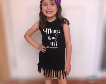 Mama is my BFF - summer dress, girl dress, toddler girtl deess, fringe dress
