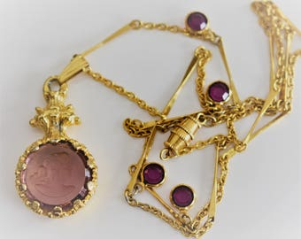 Vintage Goldette Purple Reversed Intaglio Cameo Gold Tone Necklace With Purple Swaroski Crystals