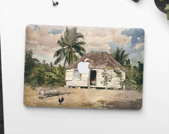 "Winslow Homer, ""Native Huts, Nassau"". Macbook Pro 15 skin, Macbook Pro 13 skin, Macbook 12 skin. Macbook Pro skin. Macbook Air skin."