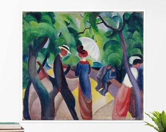 """August Macke, """"Promenade"""". Art poster, art print, rolled canvas, art canvas, wall art, wall decor"""