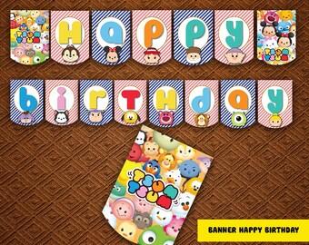 Disney Tsum Tsum party package, Tsum Birthday, Tsum Tsum banner, Tsum bag, Tsum Tsum tag,  Tsum food,Tsum Tsum water,Tsum cupcaket | TS_FULL