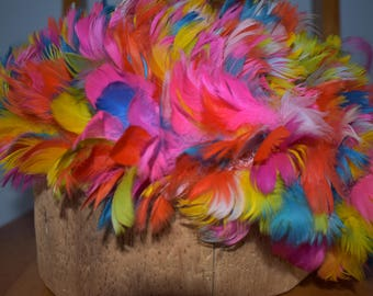 Feathered cap vintage rainbow colored