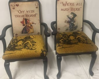 Alice in Wonderland dining room chair/ black high backed chair/ occasional chair/ carver chairs/ dining chair/ home decor/ gothic style/