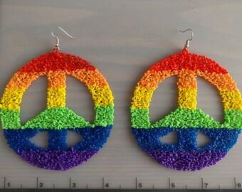 Giant rainbow peace sign 3d pen earrings