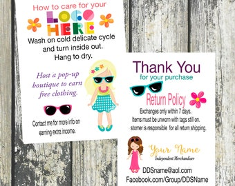 Fashion Girl Thank You/Care Card, Customized and Double Sided DotDotSmile