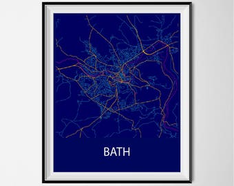 Bath Map Poster Print - Night