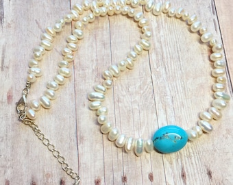 Sleeping Beauty turquoise and freshwater pearl sterling silver necklace genuine gemstone cream pearls blue turquoise .925 silver