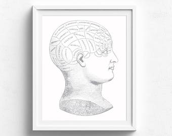 Phrenology Head Poster, Psychology Art, Medical Illustration, Weird Victorian, Vintage Style Print