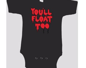 You'll Float Too Balloon It 2017 Clown Kids Children Shirt Bodysuit Many Sizes Colors Custom Horror Halloween Merch Massacre