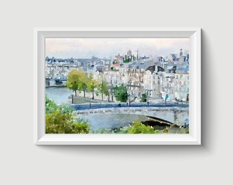 Notre Dame Cathedral Paris France Watercolor Painting Art Printable Q107