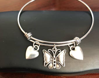 Love Butterfly Stainless Steel Bangle Bracelet