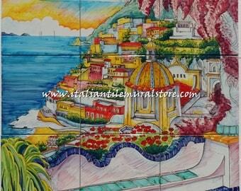 Beautiful Positano coast tile mural backsplash - Fine Art Ceramic - Tile Murals and Backsplashes - Wall decor landscape - Wall mural art