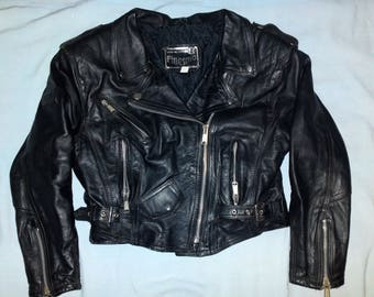 FINESMO Vintage Lady's 60's Motorcycle Biker Rock Black Leather Jacket size D 44