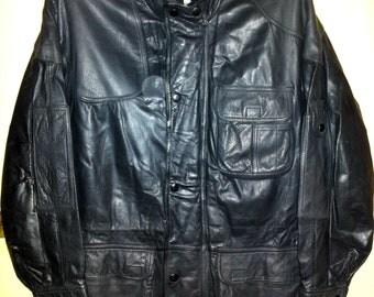 Vintage German Police Leather Field Jacket, Size 54