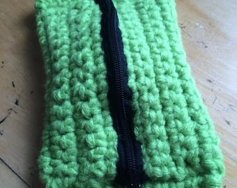 Lime green crocheted purse