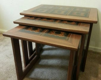 Mid Century Nesting Tables With Tile Top