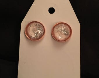 Katie 12mm White Silver Leaf Stone on Rose Gold Setting