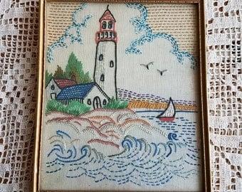 Vintage Needlework / Vintage Textiles / Vintage Frame / Vintage Nautical / Vintage Linen / Vintage Beach / Vintage Lighthouse Scene / Water