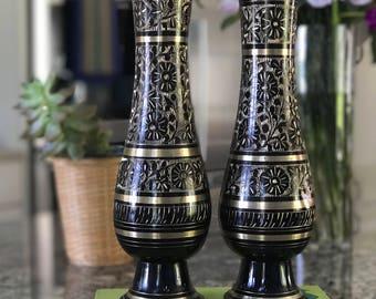 1970's Vintage Painted Etched Brass Vases Vase Set of 2 // Bohemian Decor // Boho Gypsy