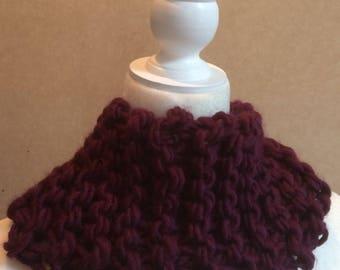 Burgundy cowl in super soft yarn