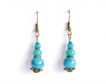 Clearance * earrings brass - turquoise blue glass beads